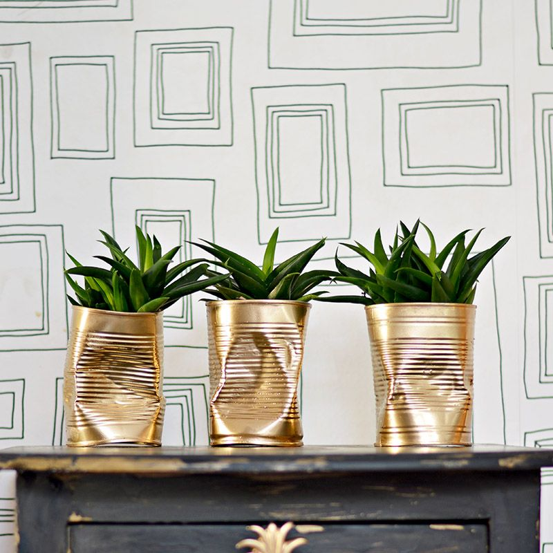 How to Make Gold Crushed Can DIY Planters | Planters, Shabby and Craft