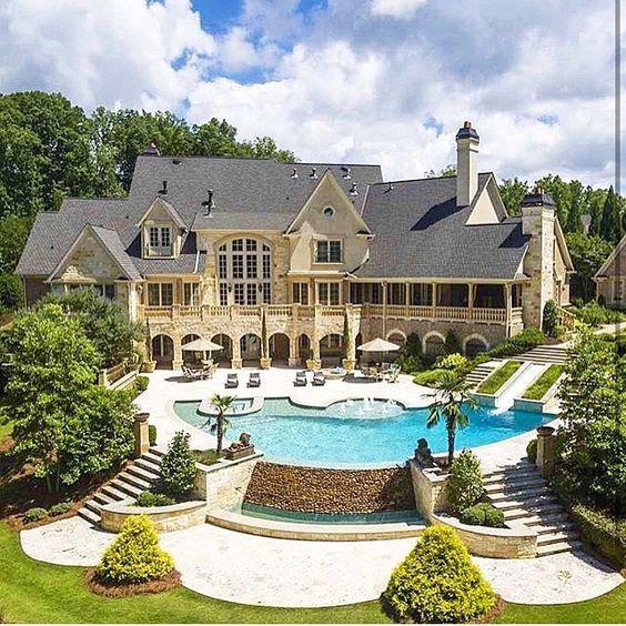 54 stunning dream homes mega mansions from social media for Big modern houses for sale