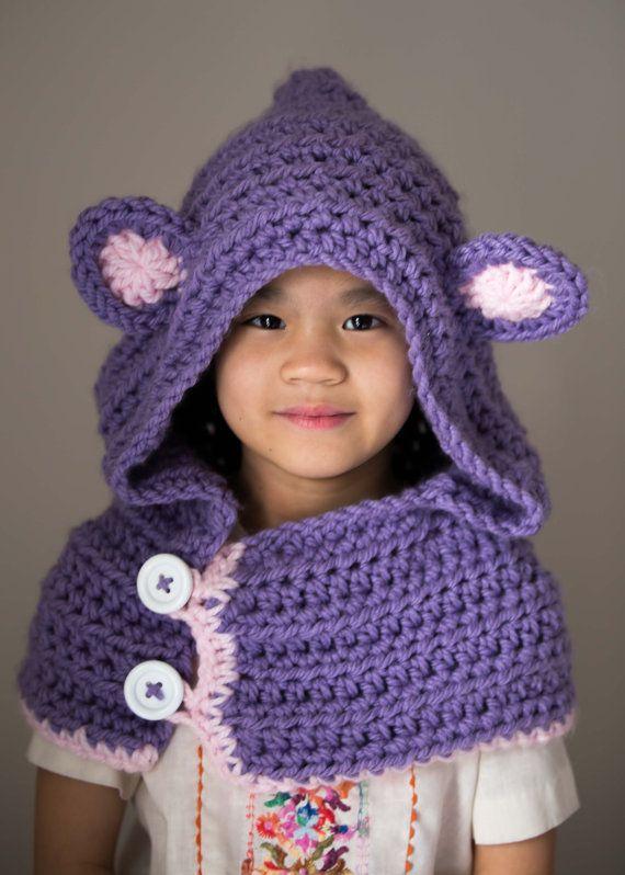 Bear Hooded Cowl, Child cowl, Crochet Bear Cowl, Animal Hat, Bear ...