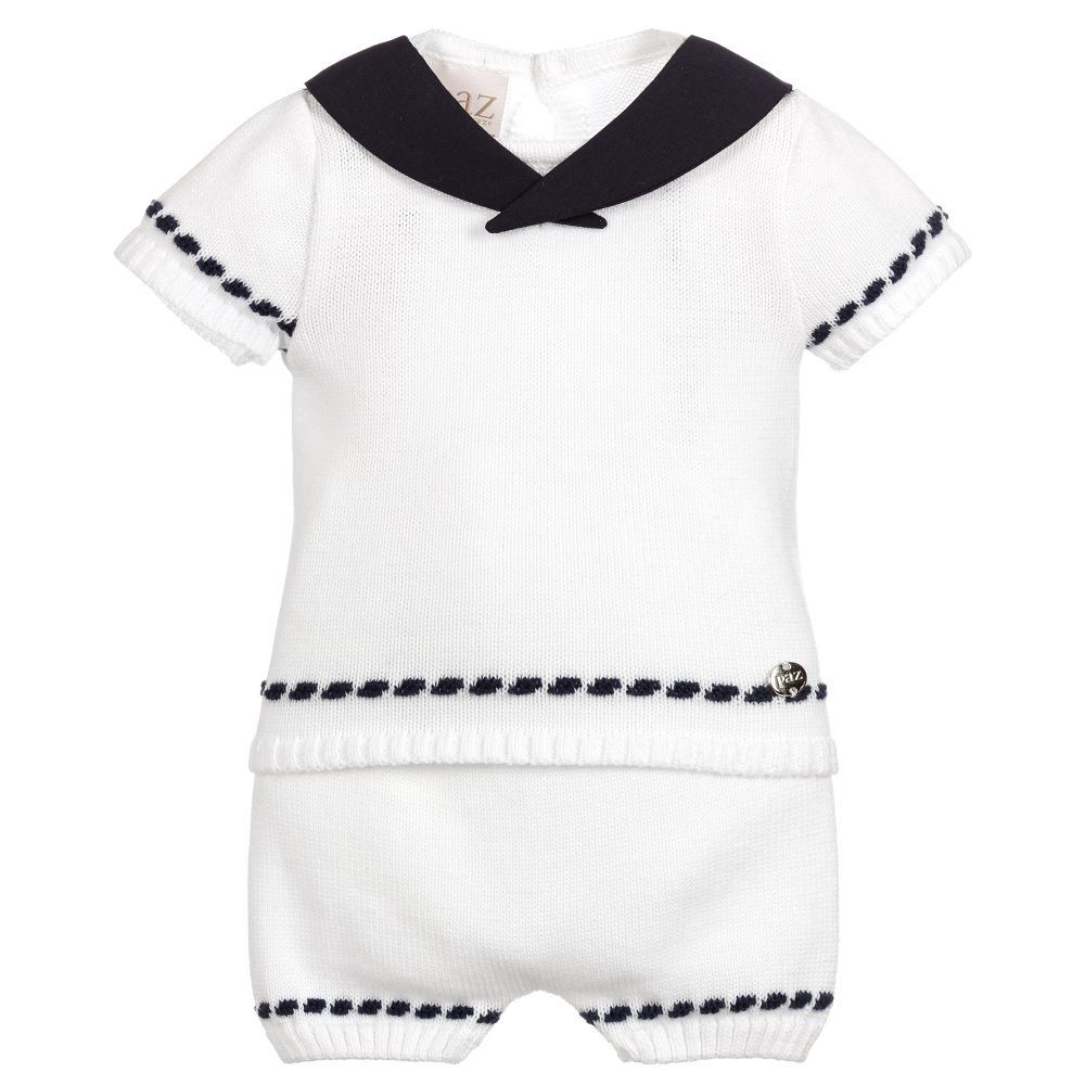 585ce952e762 White top and shorts set for baby boys by Paz Rodriguez