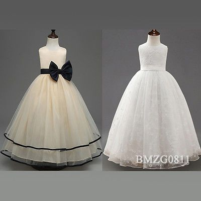 Blumen Mädchen Spitzenkleid Festkleid Kinder Hochzeit Party Tüll Kleid GR110-160