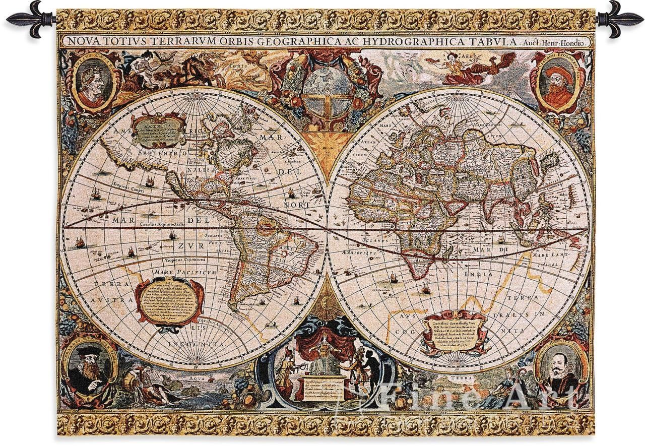 Old world map wall tapestry this beautiful old world map art is old world map wall tapestry this beautiful old world map art is woven into gumiabroncs Gallery