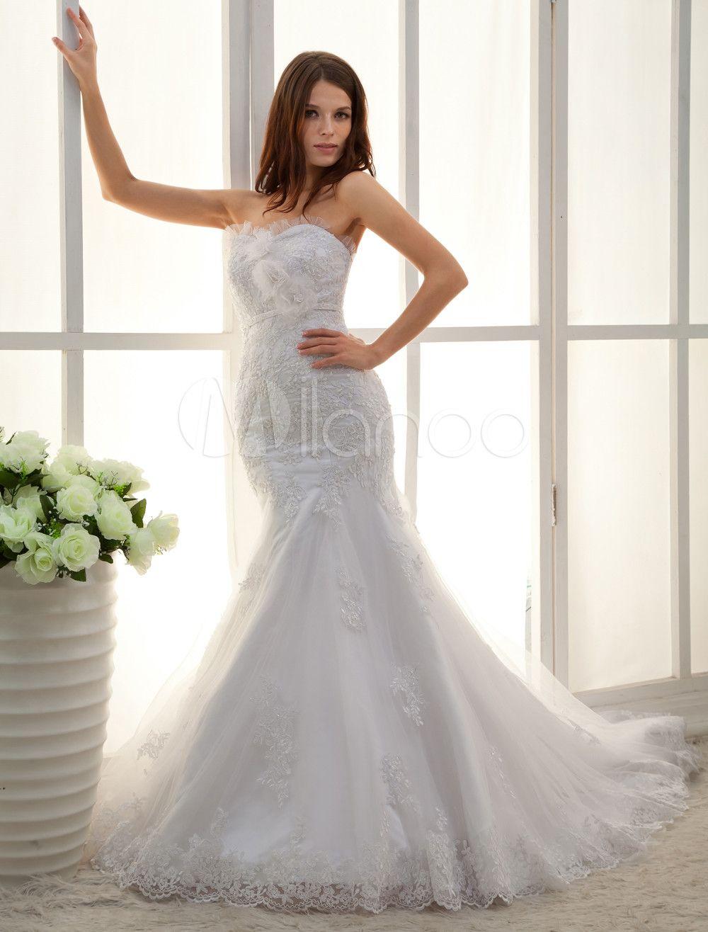 White Sweetheart Lique Lace Mermaid Trumpet Wedding Dress