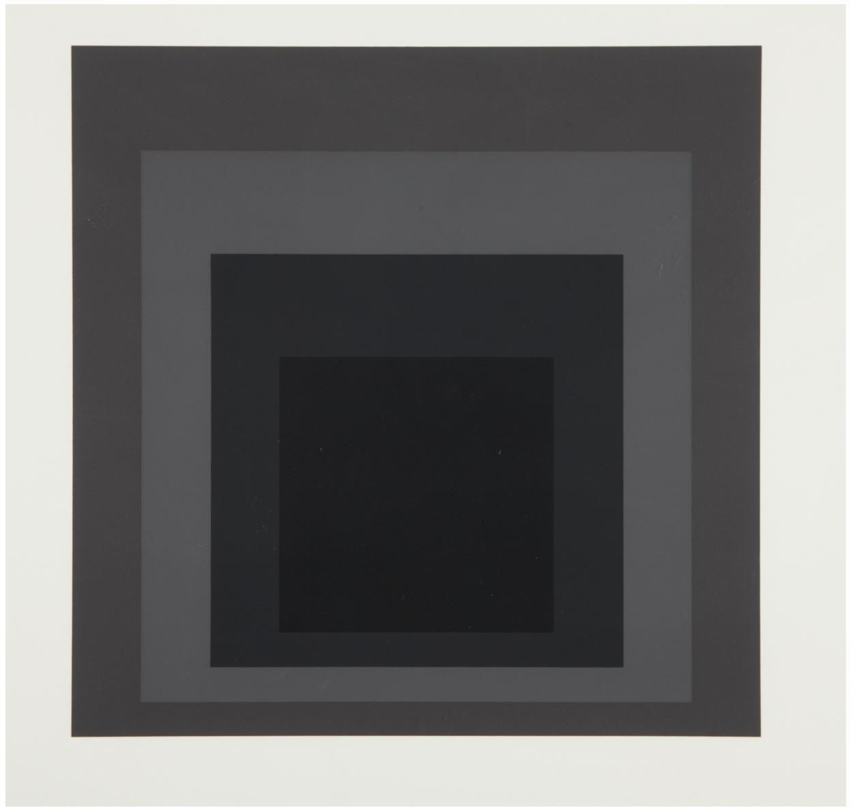 Josef Albers  I-S LXXIIa, 1972  Screenprint in grays, on German Etching paper, with full margins, I. 17 1/2 x 17 1/2 in. (44.5 x 44.5 cm)