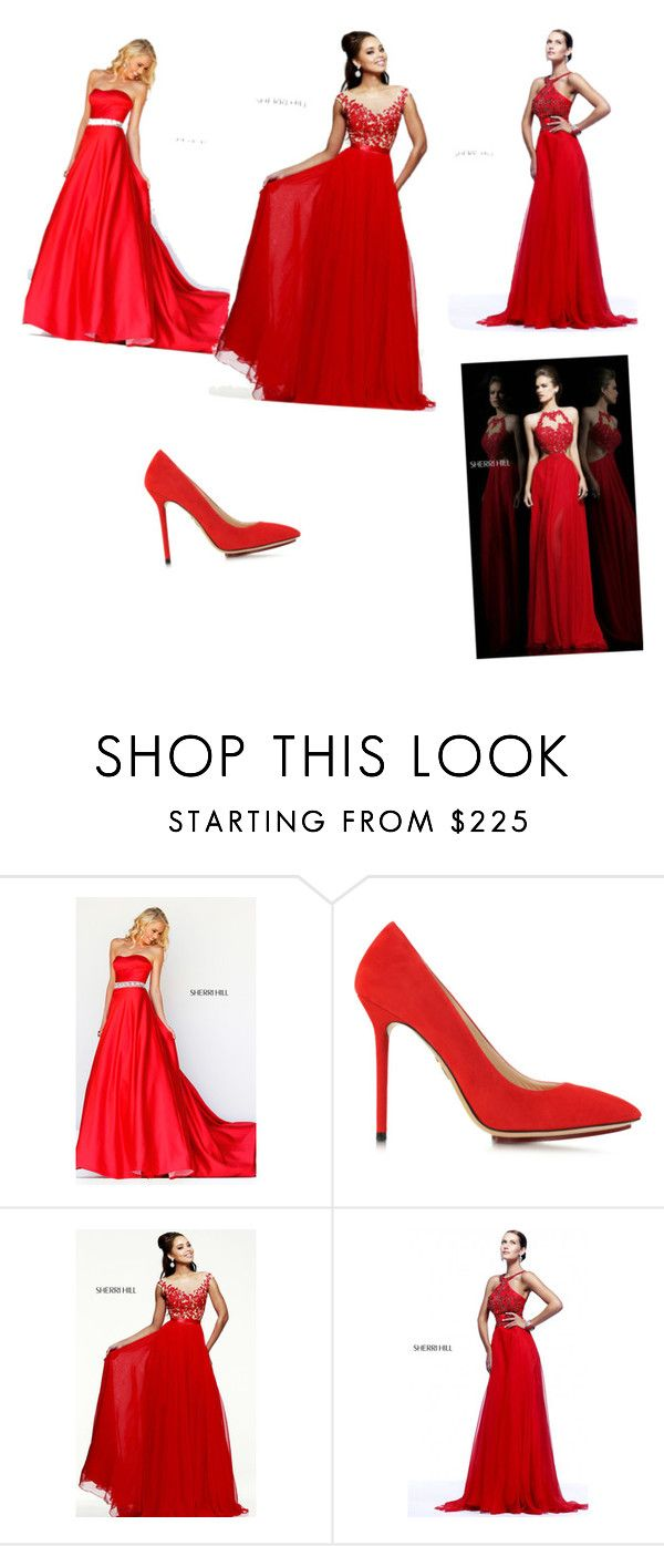 """long Red dreses"" by rusne-zuozaite ❤ liked on Polyvore featuring Sherri Hill and Charlotte Olympia"