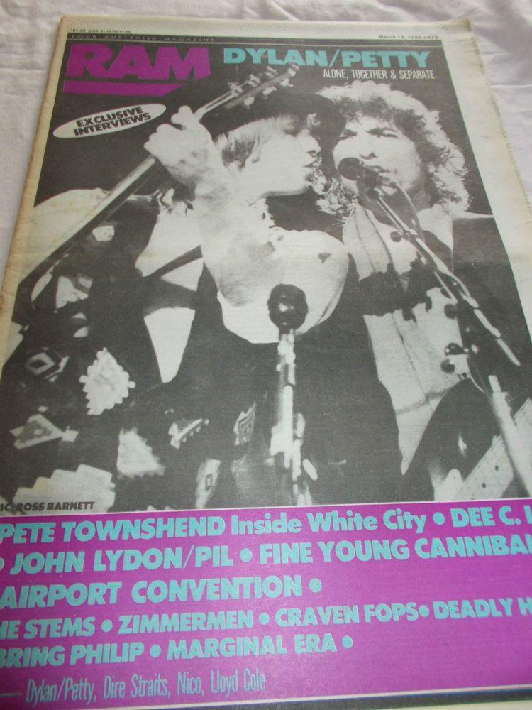 BOB DYLAN / TOM PETTY- RAM -OZ MUSIC MAG -1986- PETE