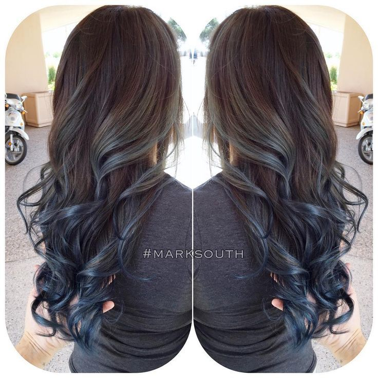 Blue Highlights In Brown Hair Blue Steel Ombre Follow Southmarksouth Hair Hair Inspiration Color Blue Ombre Hair Hair Styles