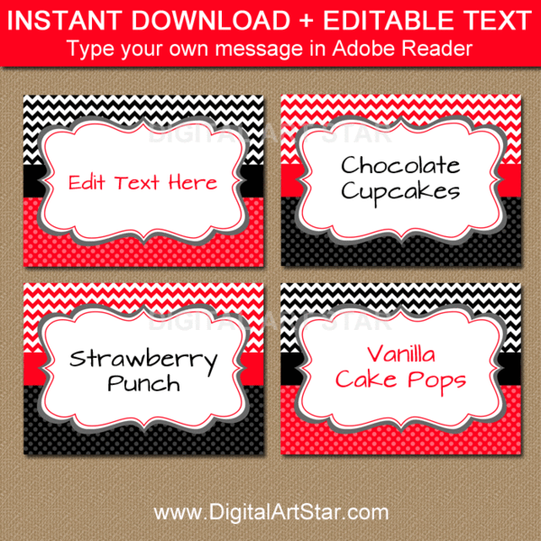 Buffet Food Tents INSTANT DOWNLOAD with EDITABLE text Place Cards Chalkboard Valentine/'s Day Food Tags Valentine/'s Day Food Labels