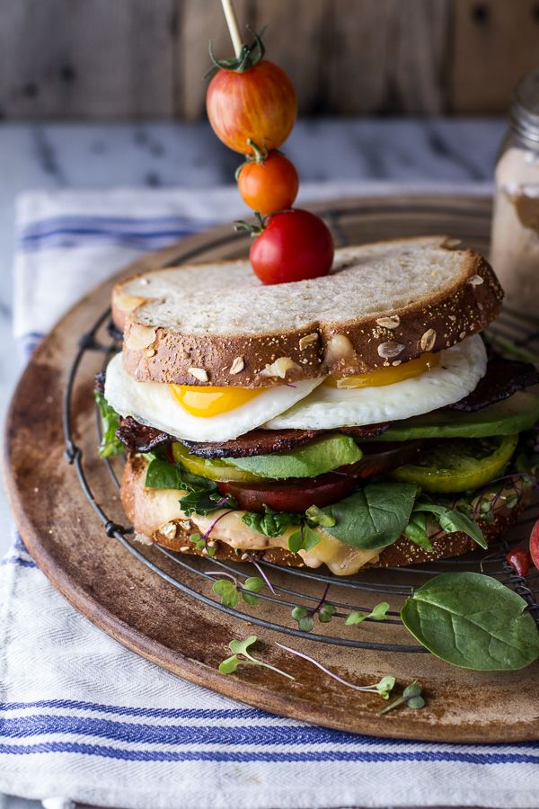 Bourbon Caramelized Bacon And Heirloom Tomato Blt W Fried Eggs