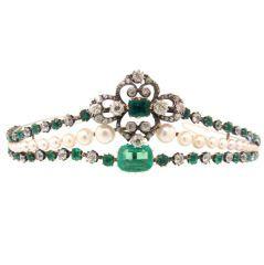 Victorian Diamond, Emerald, Pearl, Silver & Gold Tiara