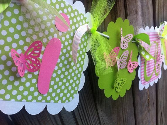 I AM 1 Banner with 3D BUTTERFLY in pinks & Lime by wburley74, $12.00