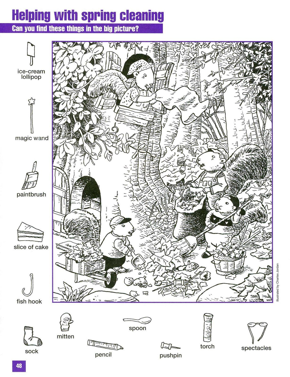 Spring Cleaning Hidden Picture Coloring Page