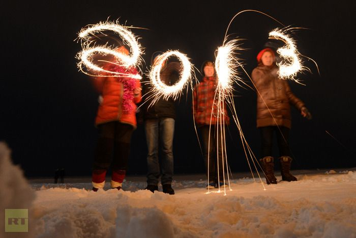 Awesome sparklers that light the night spelling 2013!