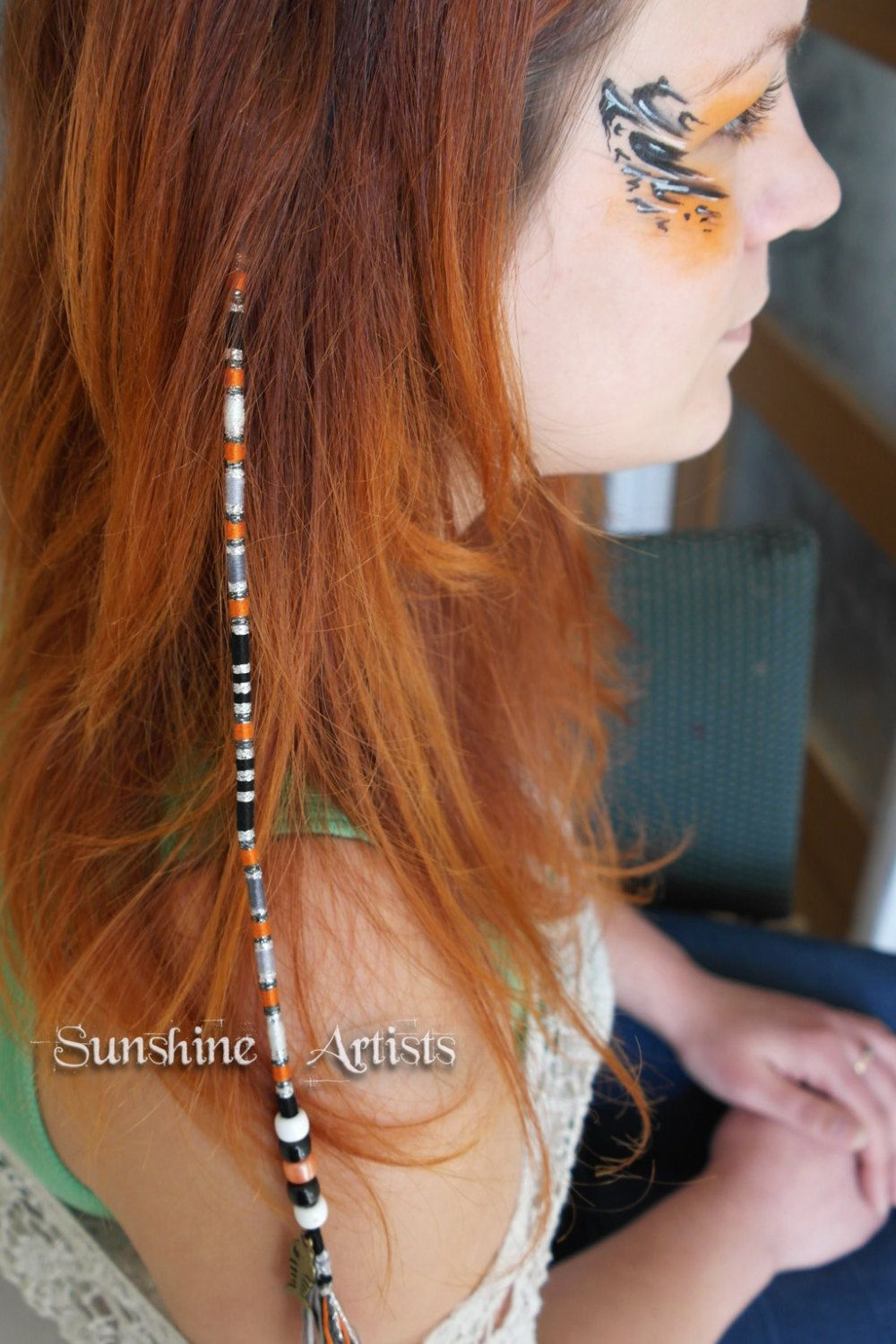 Goldfish pattern hair wrap, hair braid, hair art - orange, black and grey - bronze charm and beads (with instructions) by SunshineArtists on Etsy