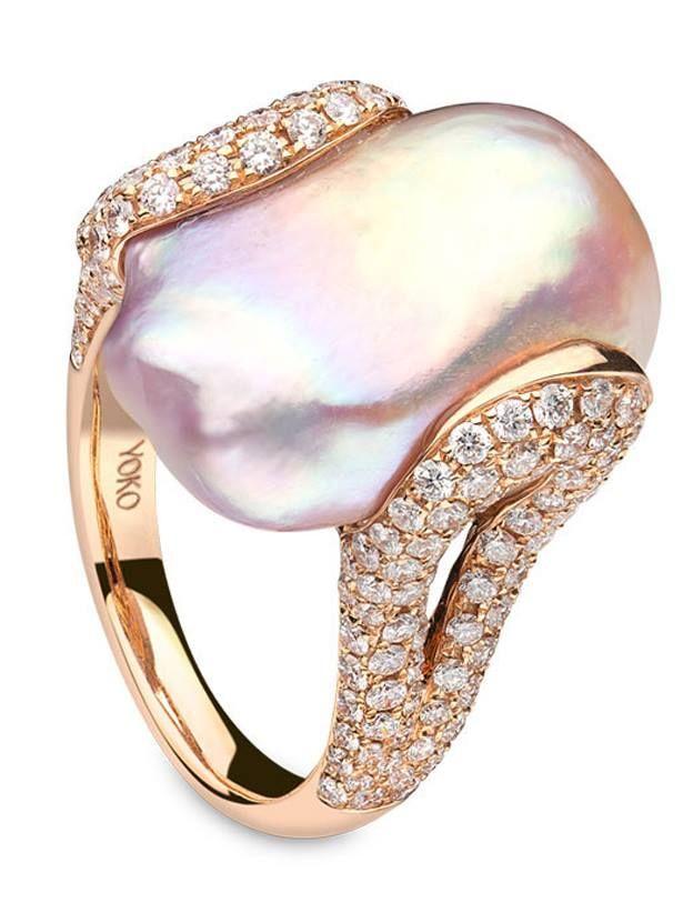 Anillo Perla De Tahití Y Diamantes Oro Amarillo Moderno Finely Processed Pearl