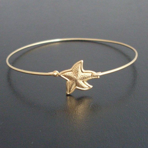Starfish Bangle Bracelet Gold By Frostedwillow 15 95