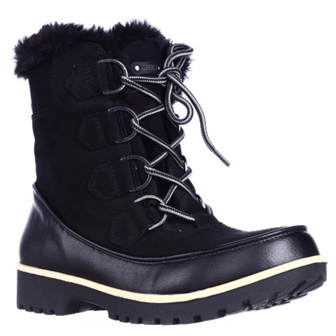 JBU by Jambu Mendocino Mid Calf Faux Fur Winter Snow Boots, Black, 6.5 US / 36.5 EU