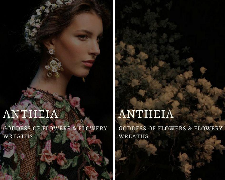 Antheia ἀn8eia Greek Goddess Of Flowers Flowery Wreaths Gods