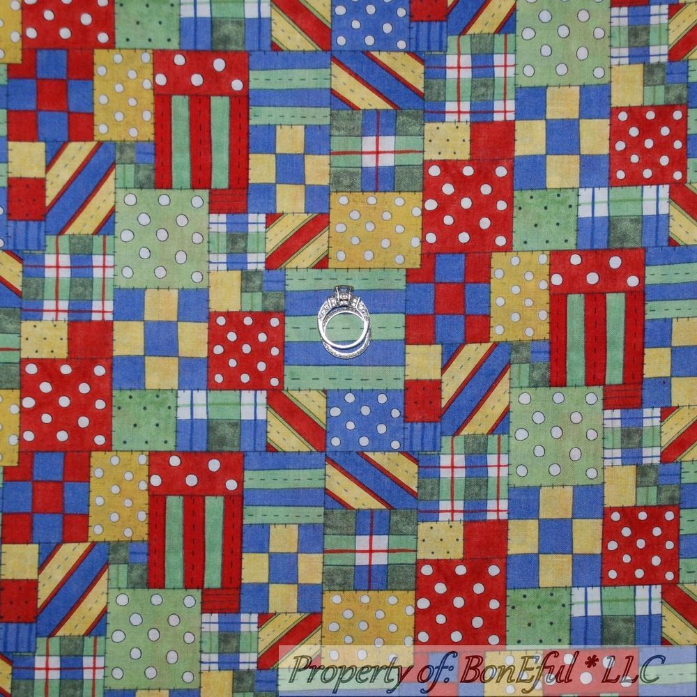 BonEful Fabric FQ Cotton Quilt Red White Blue Green Yellow Polka Dot Plaid Baby