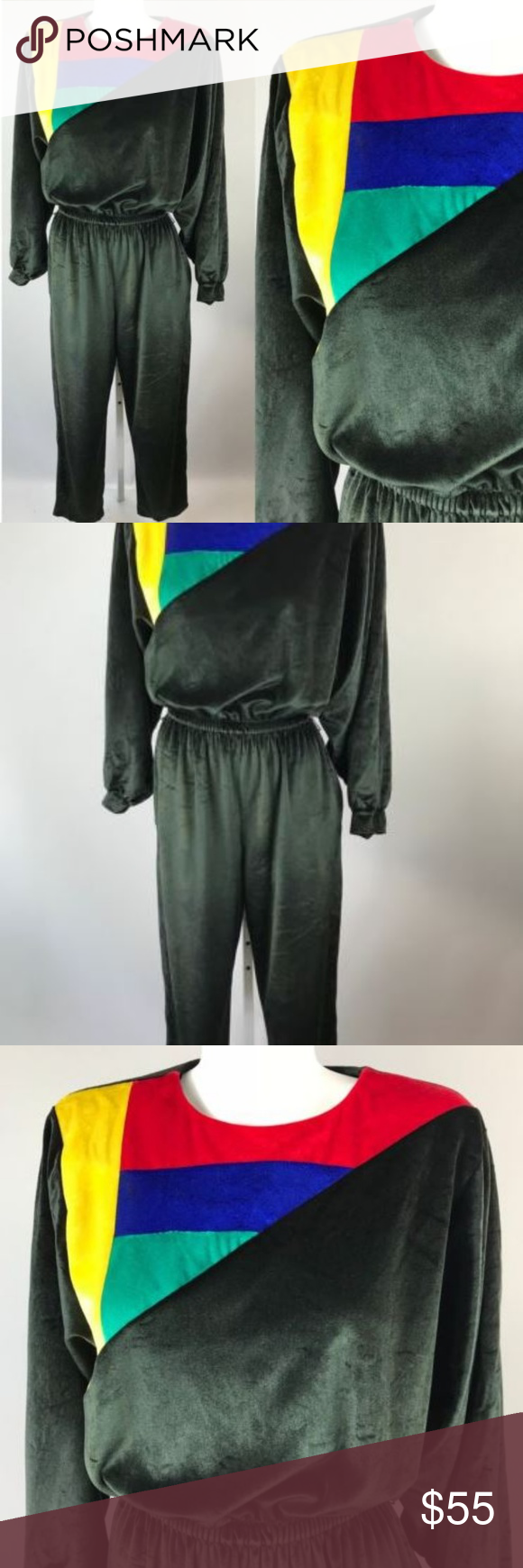 7b706cf82f3 Vtg 70s David Brown Long Sleeve Velvet Jumpsuit Vtg 70s David Brown Long  Sleeve Black Velvet