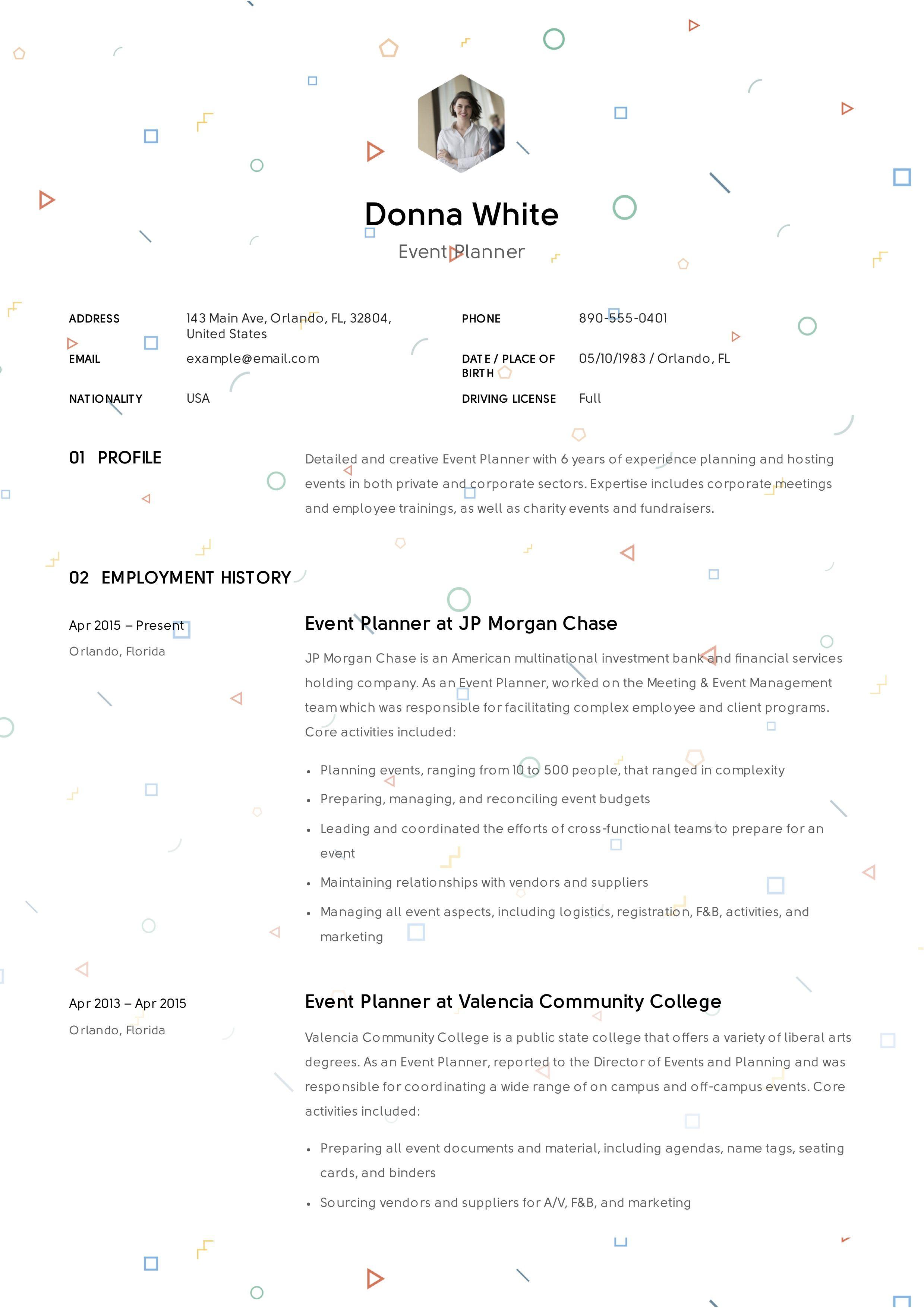 Guide Event Planner Resume Event planner resume, Event