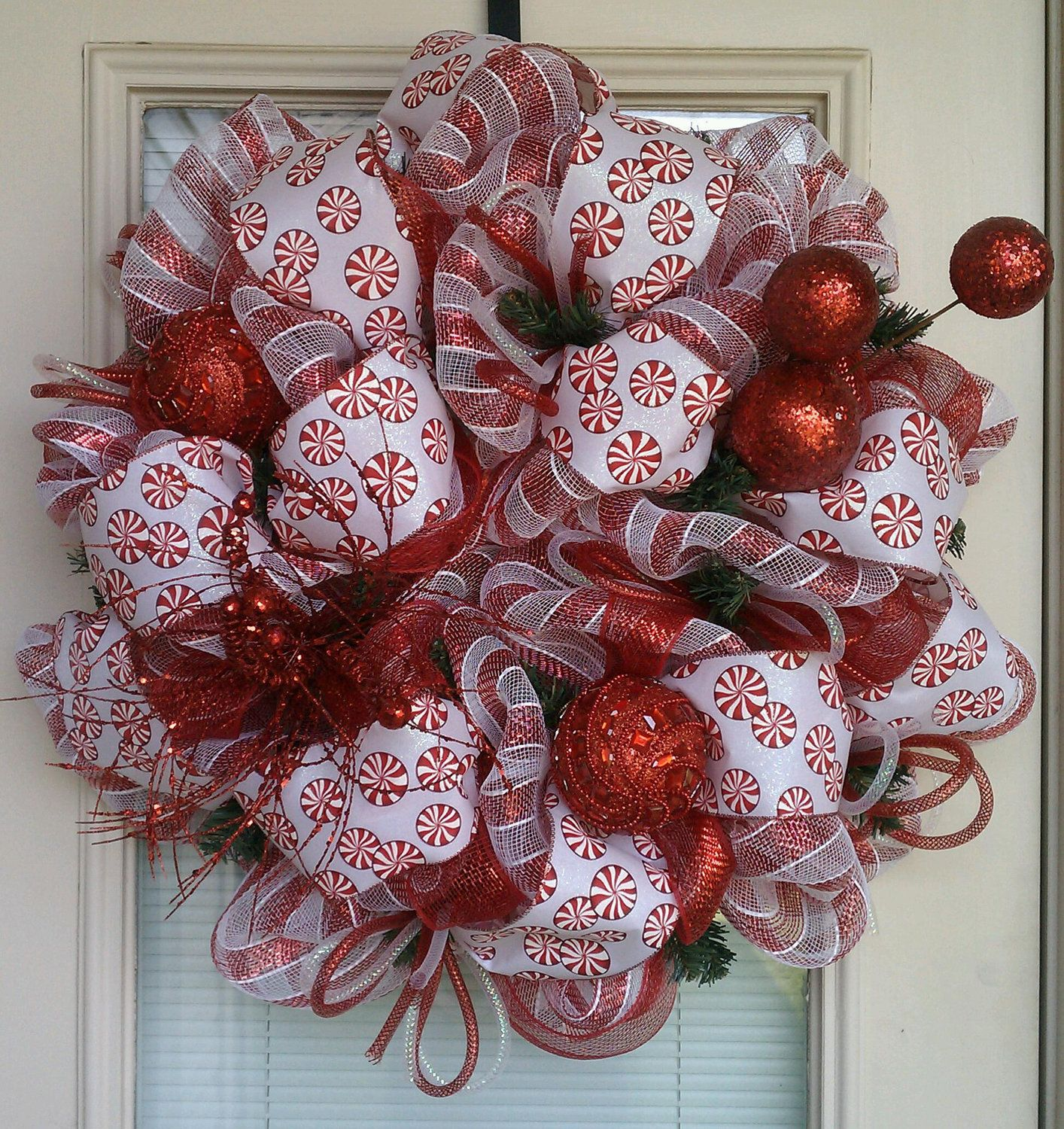 Photo of REDUCED!!!  Red and White Peppermint Christmas Wreath