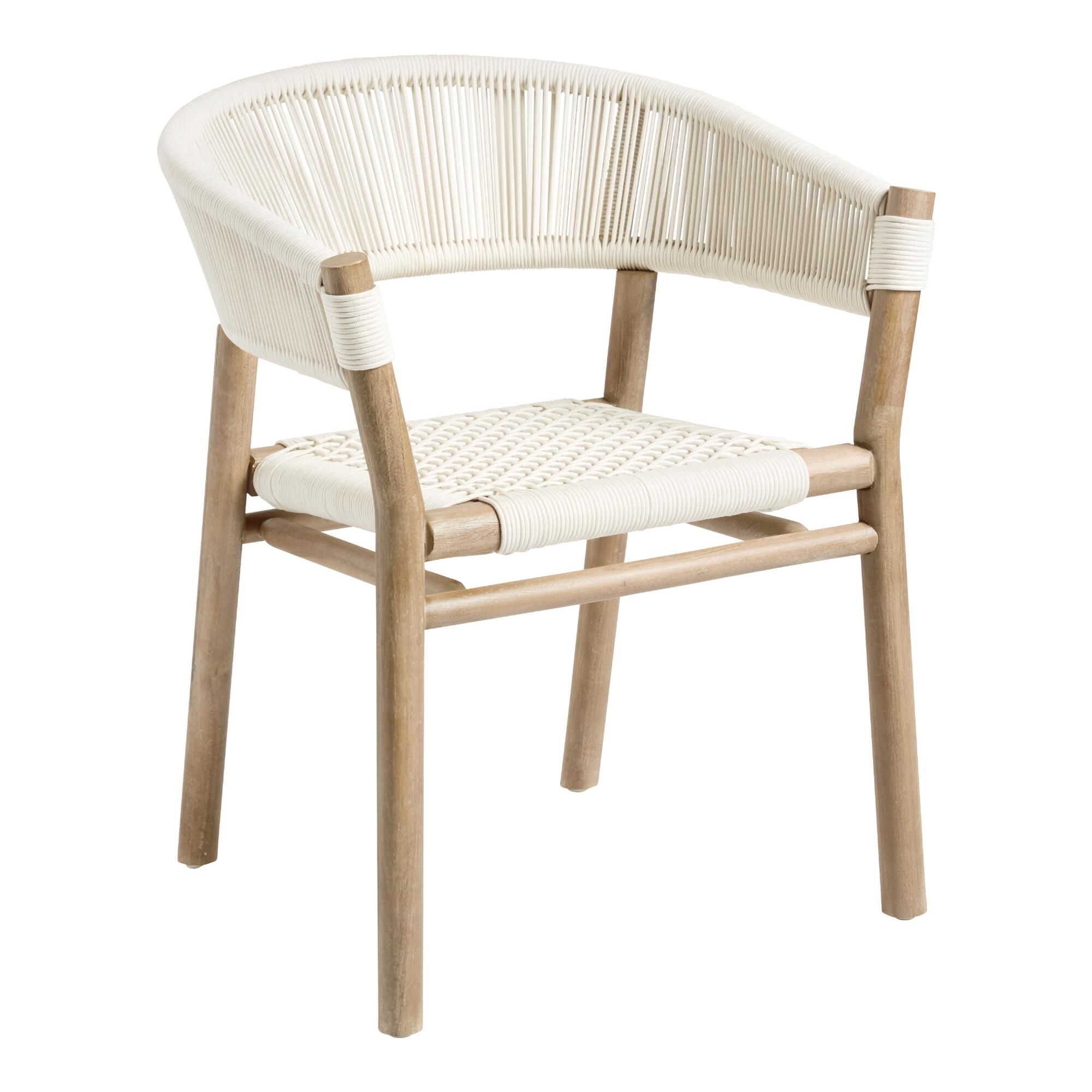 Antique White Rope Cabrillo Outdoor Patio Dining Chair Wood By World Market Outdoor Dining Chairs Outdoor Dining Furniture World Market Dining Chairs White outdoor dining chairs