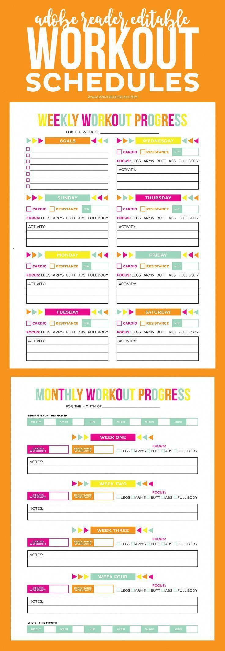 Download this Adobe Reader Editable Printable Workout Schedule and Progress sheet to help you keep i...