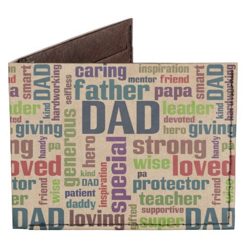 Dad Word Cloud Text Father's Day Typography Tyvek®️️️ Billfold Wallet - and more personalized gift ideas for Dad