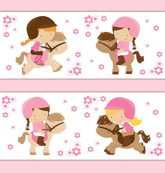 HORSEBACK RIDING DECAL Stickers Horse Pony Girl Wallpaper ...