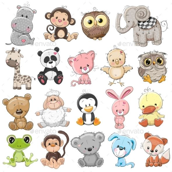 Set Of Animals Cute Animal Illustration Cute Drawings Cute Cartoon Animals