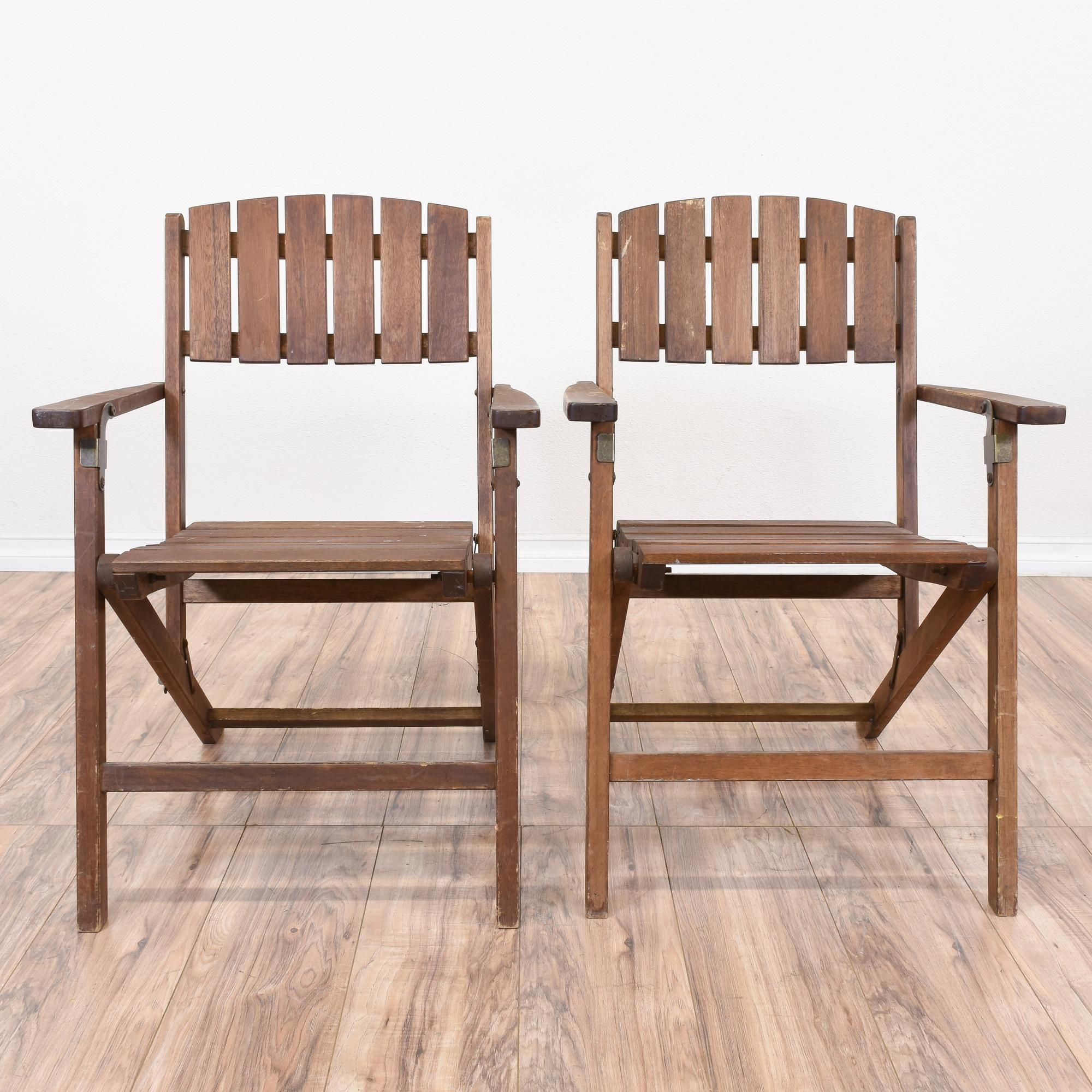 Pair Folding Wood Slat Outdoor Chairs