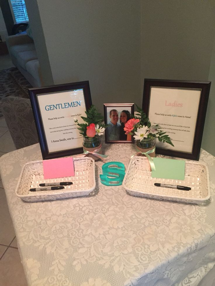 Bridal Shower Game Have guest write vows