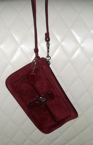 ALL COACH Auction starts at 2 PM!! Come check out all my SWAG for Sale!  'COACH Soho Burgundy Suede Leather Large Wristlet' is going up for auction at  2pm Fri, Nov 22 with a starting bid of $25.