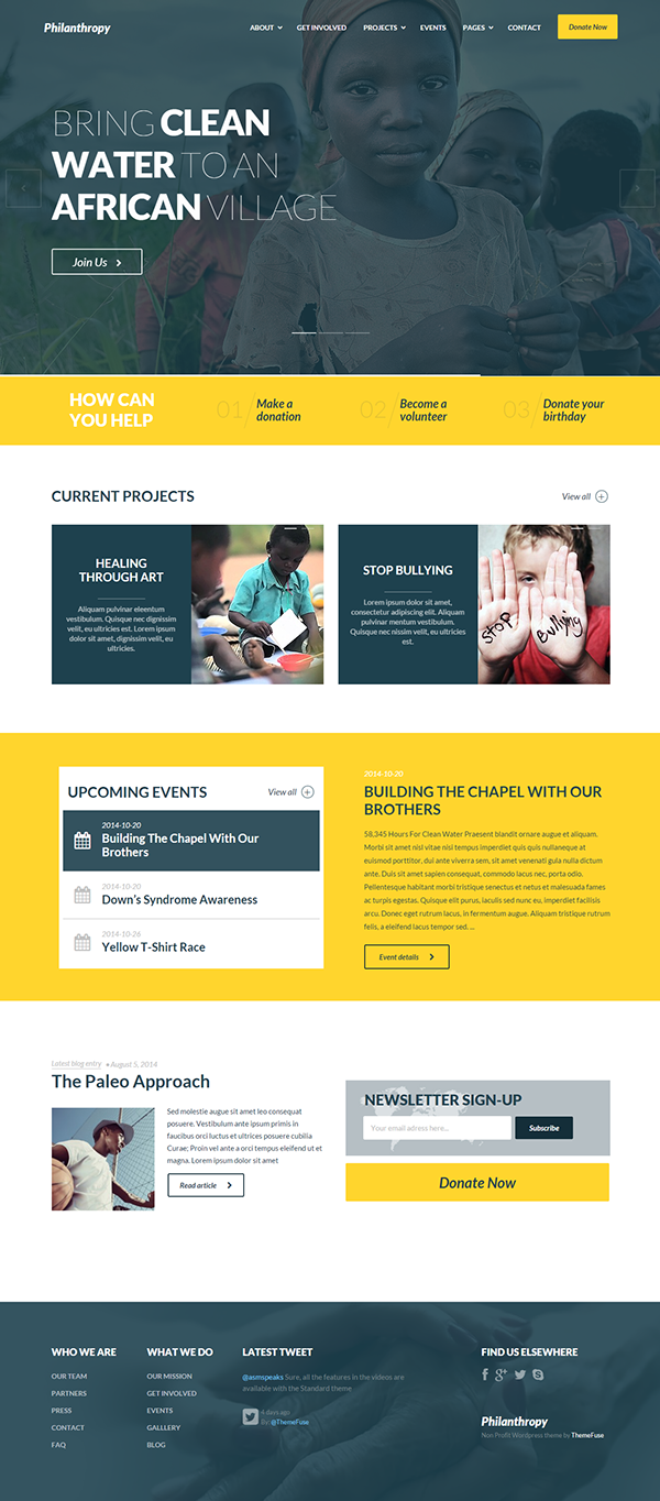 Philanthropy Nonprofit Wordpress Theme Wordpress Theme Responsive Web Design Website Design Inspiration