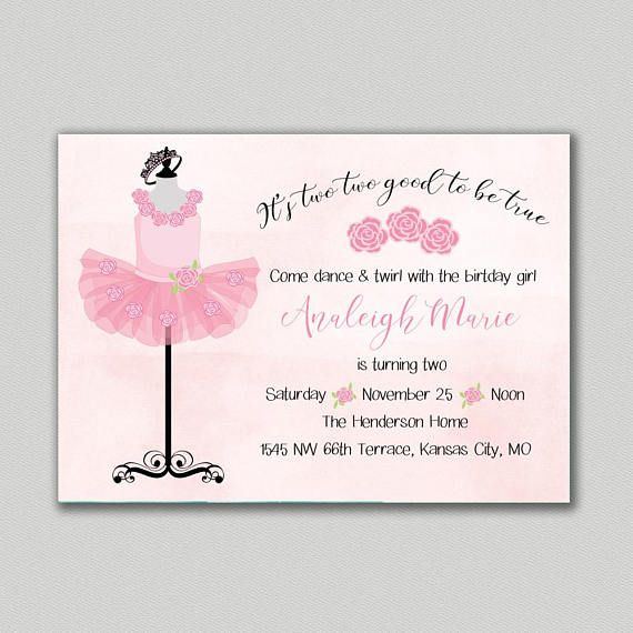 This Adorable Tutu Birthday Party Invitation Is Perfect For Any 2 Year Old Dancers Ballet