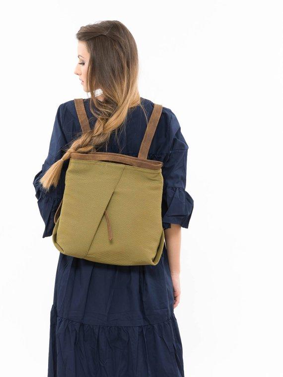 b1f96e8a5e922 Green fabric backpack, Women fabric backpack, Green backpack purse, Ladies  backpack, Office backpack, Women's work bag