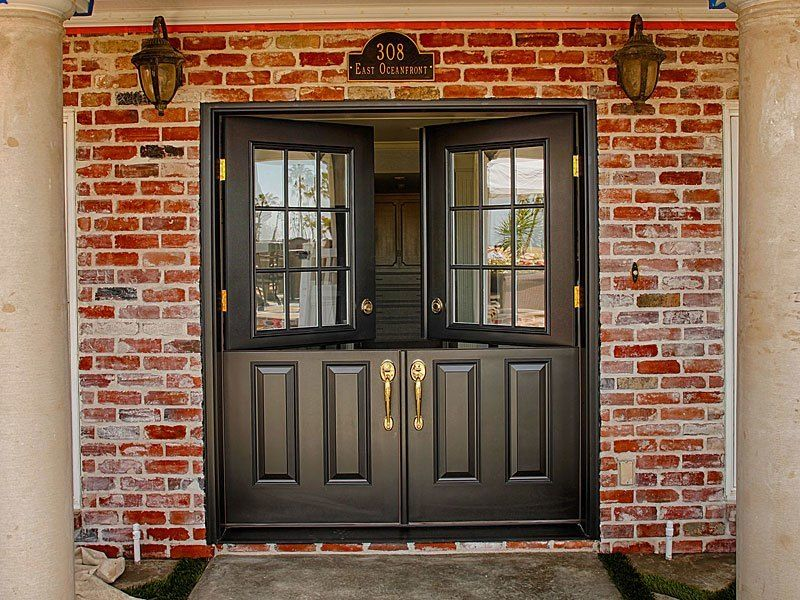 After Classic Styled 34 Fiberglass Double Dutch Entry Doors With Half Glass 9 Lite Clear Dual Pan Dutch Doors Exterior Double Entry Doors Double Front Doors