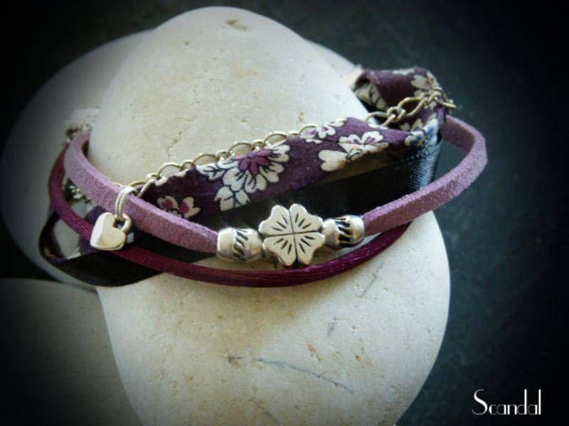 Bracelet liberty ton noir mauve violet 5 rang es avec - Fleur au coeur noir ...