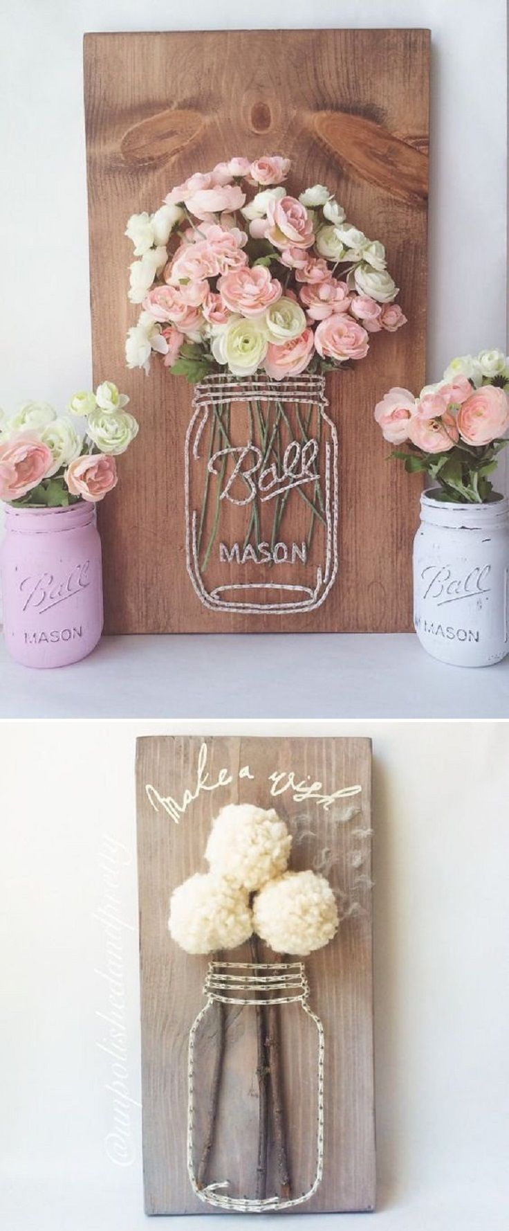 Craft a Mason Jar String Art with Wood, Yarn and Faux Flowers - 16 Picture Perfect Spring Decorations to Celebrate the Blissful Season #bonnets