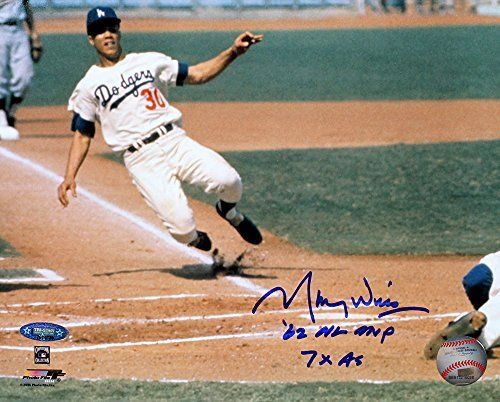 Maury Wills Signed Autographed Los Angeles Dodgers 8x10 Photo Inscribed 62 NL MVP, 7x AS TRISTAR COA