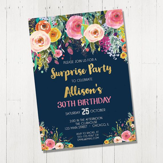 Surprise Birthday Invitation For Women Female By StyleswithCharm