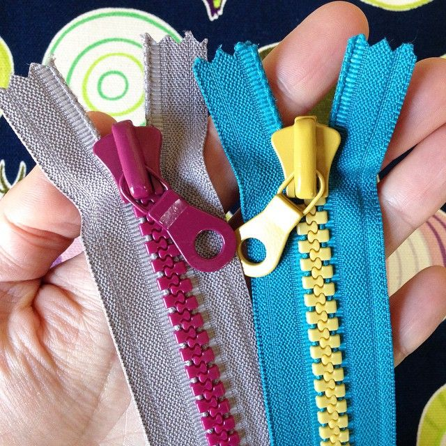 Chunky zippers by YKK. I sold a few of these in my Etsy shop but kept a few to use in Noodlehead trail totes. I love the color combinations.