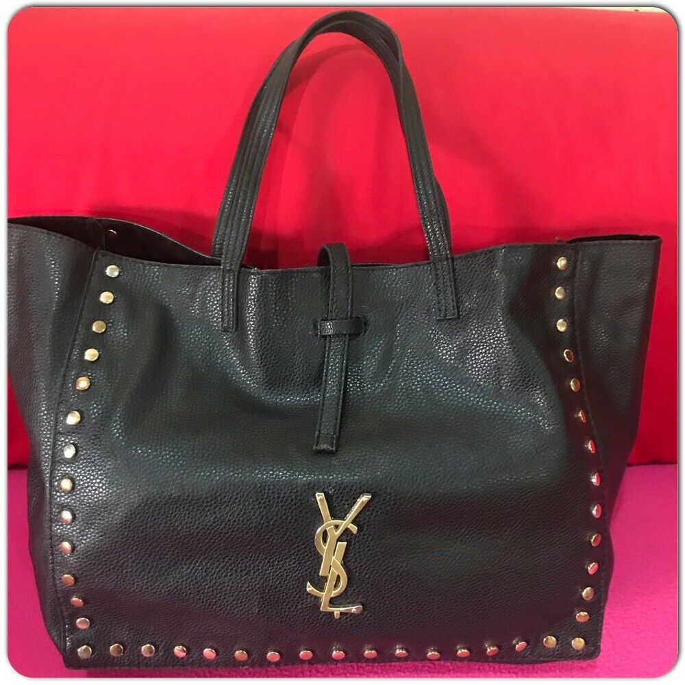 b1c9954112 YVES SAINT LAURENT Parfum Black Leather Gold Studded Tote Bag  fashion   clothing  shoes  accessories  womensbagshandbags (ebay link)