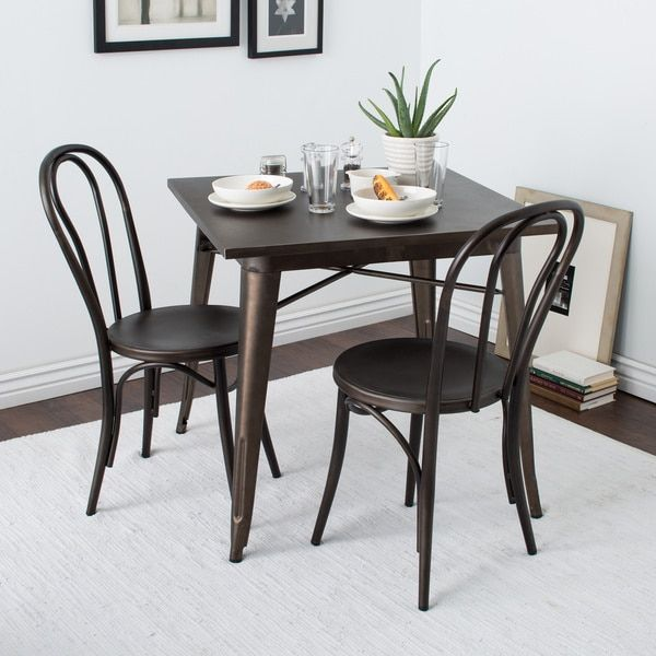 Cafe Dark Vintage Metal Dining Chairs Set Of 2