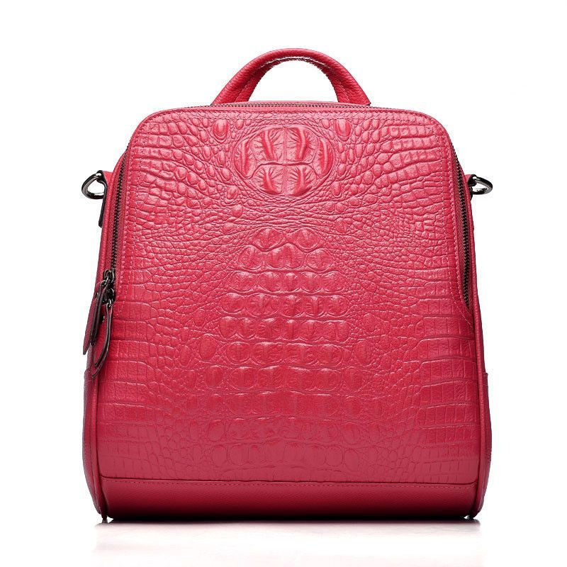Difenise Genuine First cowhide leather women's backpack 3 Color available Vintage Alligator Style Design Fashion Good Quality