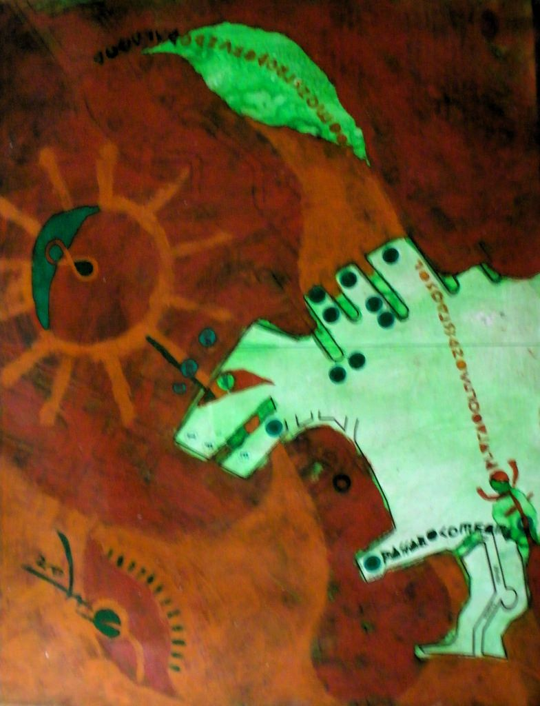 """godzilla fosforescente sobre pedra lascaux'  - 2002 - acrílica s/mapa impresso"