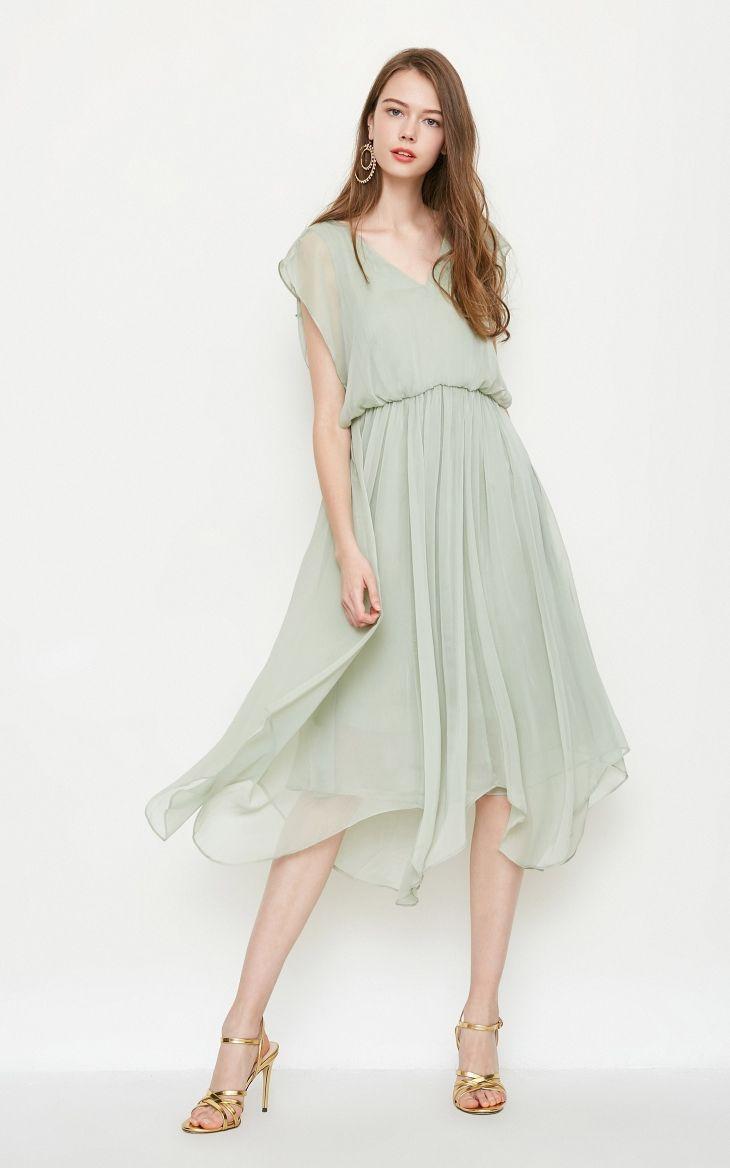 3185a5e84b V-neck Bat Sleeve Tulle Dress in 2019 | Dresses | Dresses, Tulle ...