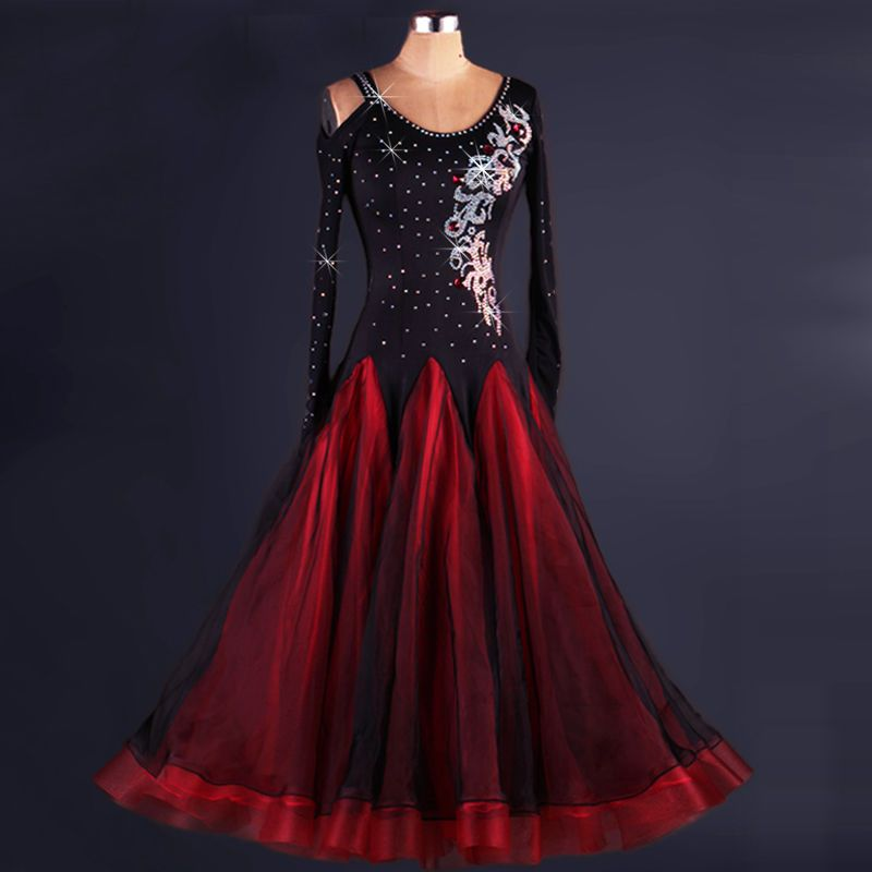 Ballroom Dance Dress Modern Waltz Standard Competition Rhinestone Black Dress