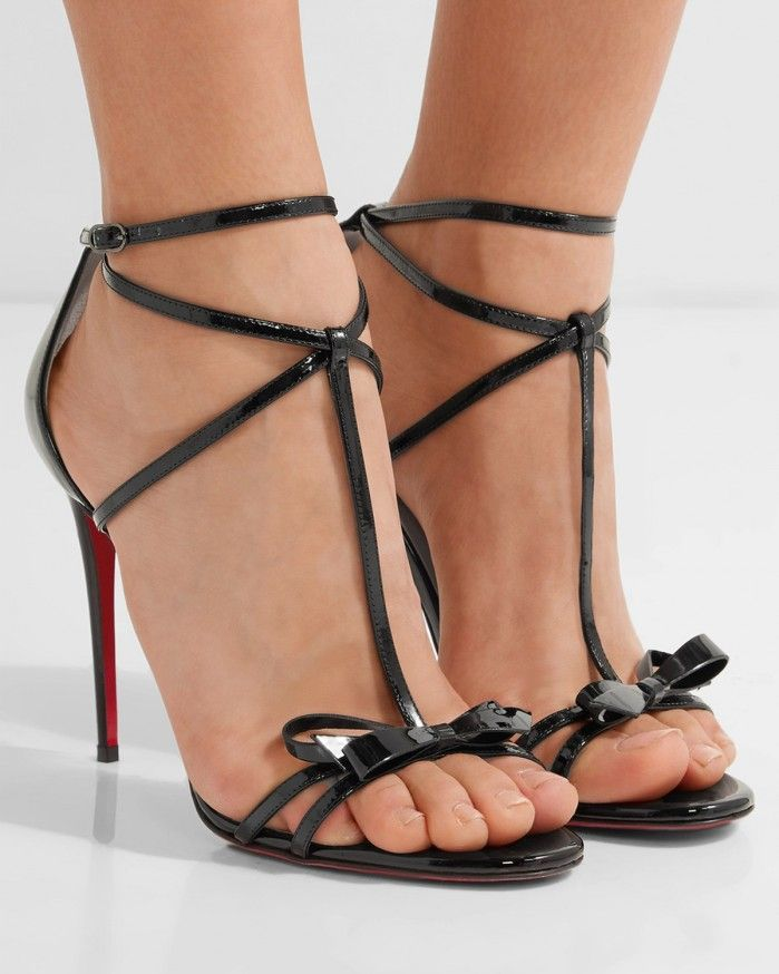 CHRISTIAN LOUBOUTIN Blakissima 100 bow-embellished patent-leather sandals -  Shoes Post